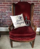 Olivia : merlot red velvet high back chair